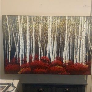 Red birch trees acrylic art from Pier One Imports